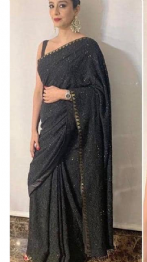 Embellished Black Saree